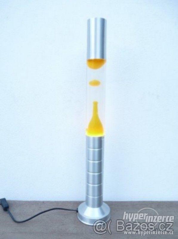 LAVA lampa - čirá/žlutá - stříbrný sokl - foto 1