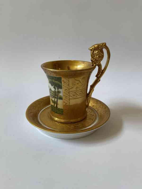 Porcelánový šálek podšálek - silně zlaceno