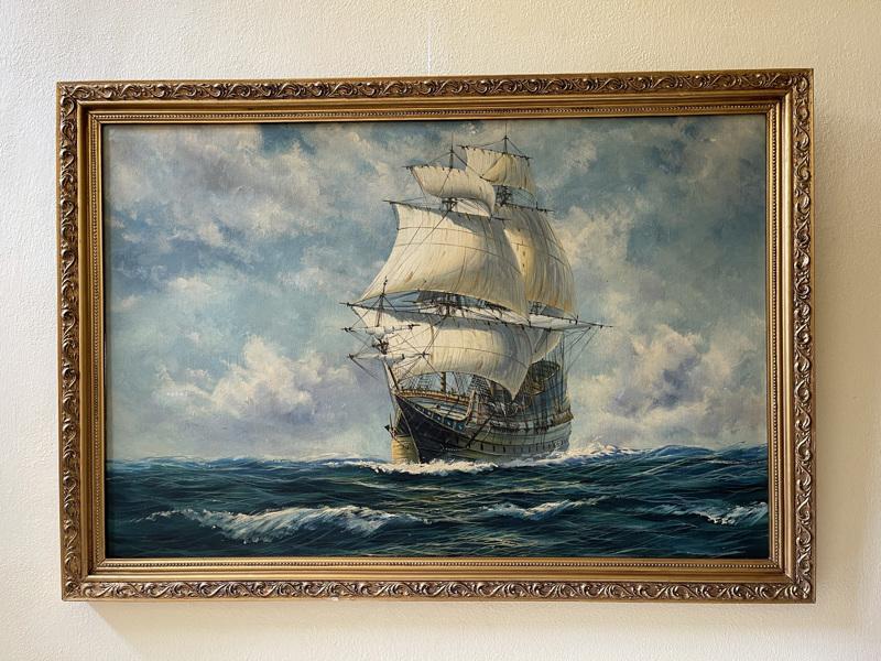 Loď plachetnice - obraz na plátně ve zlatém rámu
