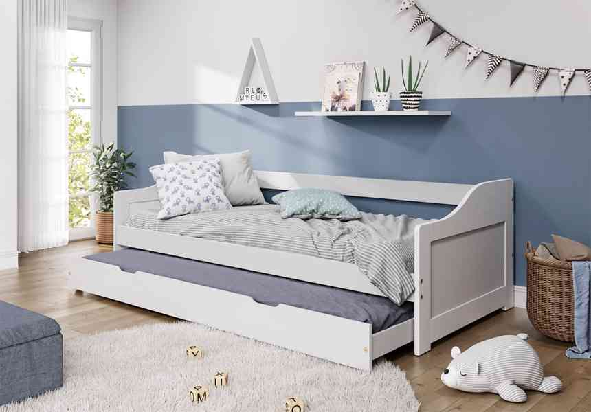Nová komplet multifunkční jednolůžková postel s přistýlkou. Bílá