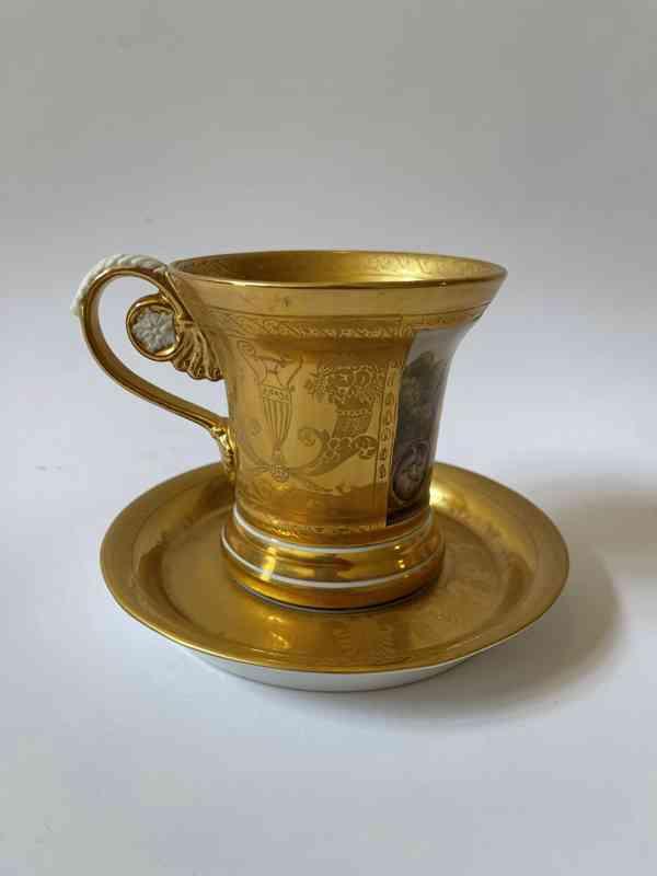 Porcelánový šálek podšálek - silně zlaceno - foto 4