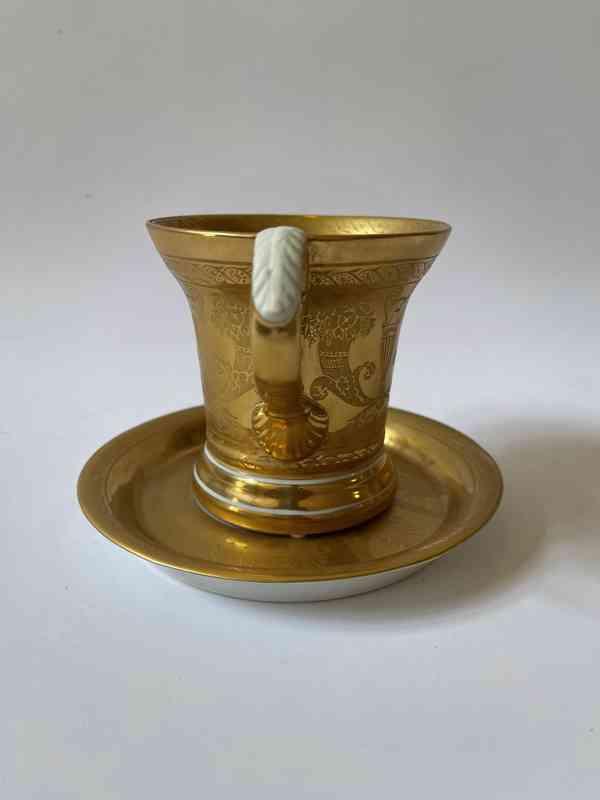 Porcelánový šálek podšálek - silně zlaceno - foto 3