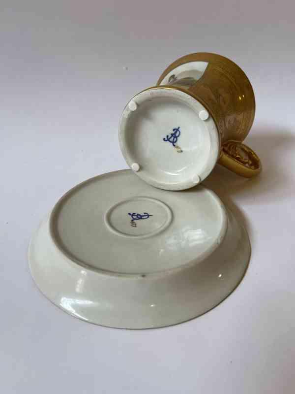 Porcelánový šálek podšálek - silně zlaceno - foto 6