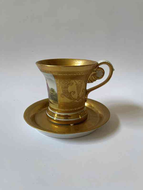 Porcelánový šálek podšálek - silně zlaceno - foto 1